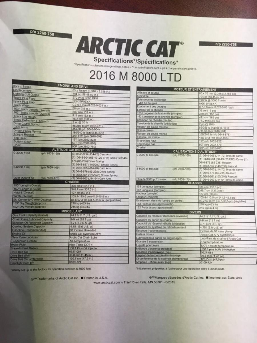 Arctic Cat Snowmobile Dry Weights